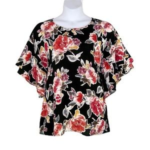 NEW Bobeau 1X 3X Floral Tiered Flutter Sleeves Top